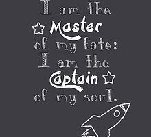I am the master of my fate the captain of my soul chalkboard print by geektique