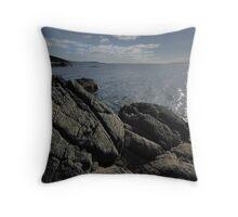 Arran Rock and Sea Throw Pillow