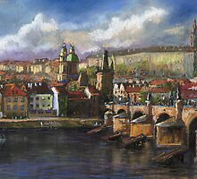 Prague Panorama Charles Bridge Prague Castle by Yuriy Shevchuk