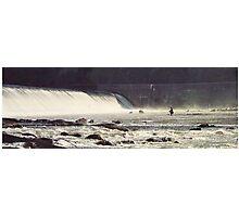 Fisherman wading the Flatrock Dam on the Schuylkill River. Photographic Print