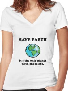 Save Earth Chocolate Women's Fitted V-Neck T-Shirt
