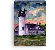 Chilmark Lighthouse Painting Marthas Vineyard Massachusetts Canvas Print