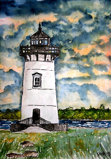 Edgartown Lighthouse Painting Marthas Vineyard Massachusetts by derekmccrea