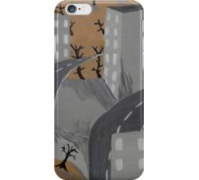 Gray Cityscape Painting, Ghost Town Art  iPhone Case/Skin