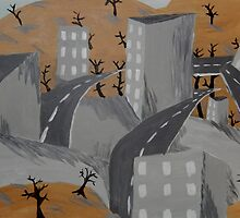 Gray Cityscape Painting, Ghost Town Art  by ShiningEyeArts