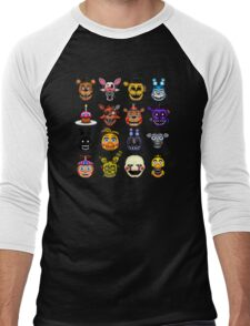 Five Nights at Freddy's - Pixel art - Multiple characters Men's Baseball ¾ T-Shirt