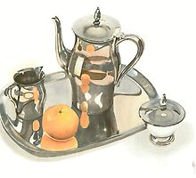 Tea Service with Orange by KipDeVore
