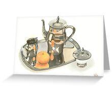 Tea Service with Orange Greeting Card