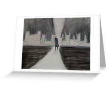 Lone Figure, Black and White Dystopian Urban Art Greeting Card