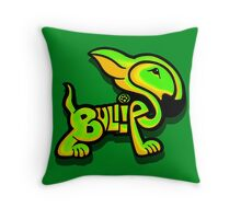 Bullies Letter Character Green and Yellow Throw Pillow