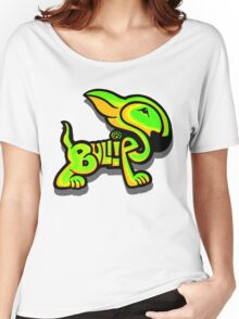 Bullies Letter Character Green and Yellow Women's Relaxed Fit T-Shirt