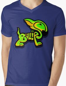 Bullies Letter Character Green and Yellow Mens V-Neck T-Shirt