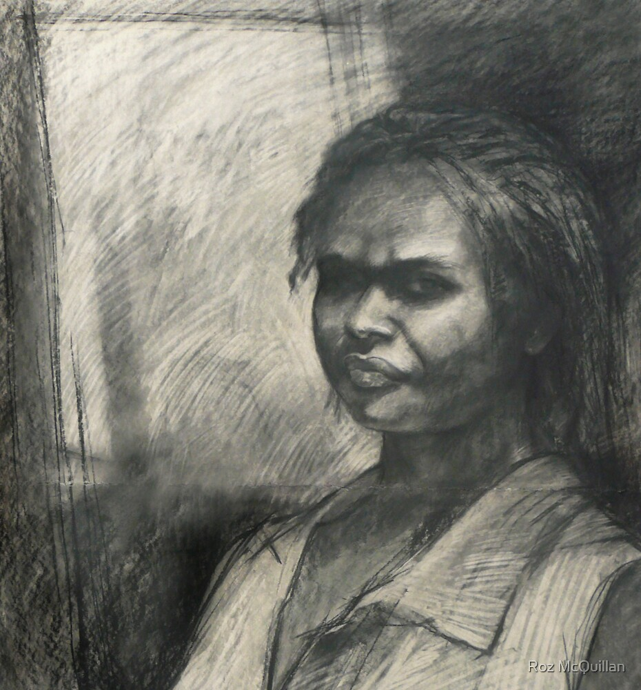Kuntamare : charcoal portrait drawing by Roz McQuillan