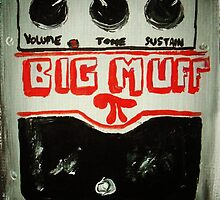 Mudhoney Grunge Guitar Pedal Big Muff Fine Art Print Of Acrylic Painting by JamesPeart