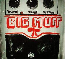 Mudhoney Grunge Guitar Pedal Big Muff Fine Art Print Of Acrylic Painting by JamesPeart