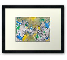 Green Painted Fight Framed Print