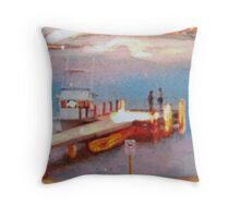 """Chatting at the jetty"" Throw Pillow"