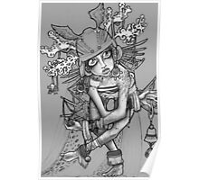 Greytone shamanic priestess illustration Poster
