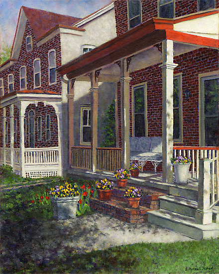 Porch with Pots of Pansies by Susan Savad