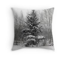 Fence line in the Snow Throw Pillow