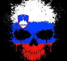 Chaotic Slovenian Flag Splatter Skull by Jeff Bartels