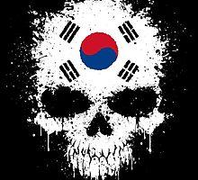 Chaotic South Korean Flag Splatter Skull by Jeff Bartels