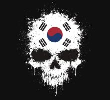 Chaotic South Korean Flag Splatter Skull One Piece - Short Sleeve