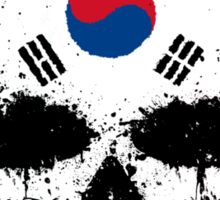 Chaotic South Korean Flag Splatter Skull Sticker
