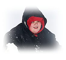 Michael Happy Playing In The Snow Photographic Print