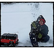 Michael Throwing Snow Ball At Me Photographic Print