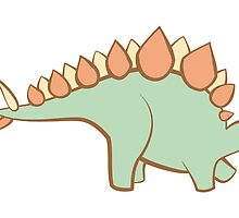 Feathery Dinosaurs - Stegosaurus in Profile by Julia Hutchinson