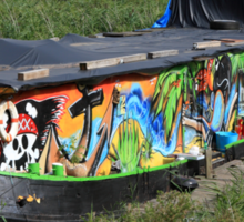 Colorful Houseboat Sticker