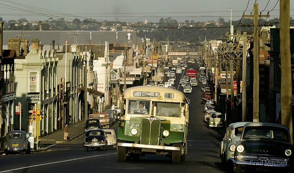 Evening traffic Johnston St Collingwood 19620508 0016 by Fred Mitchell