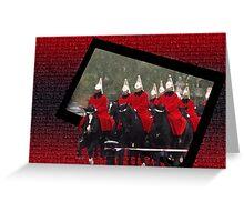 Life gaurds at Buckingham Palace, London.  Greeting Card