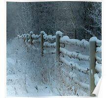 Country Fence Winter Style Poster