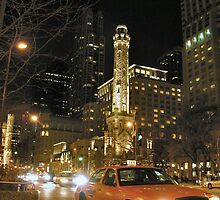 taxi at night in chicago by 1busymom