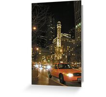 taxi at night in chicago Greeting Card
