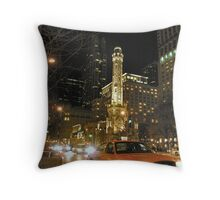 taxi at night in chicago Throw Pillow
