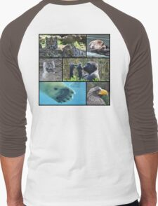 Wildlife Collage 1 Men's Baseball ¾ T-Shirt