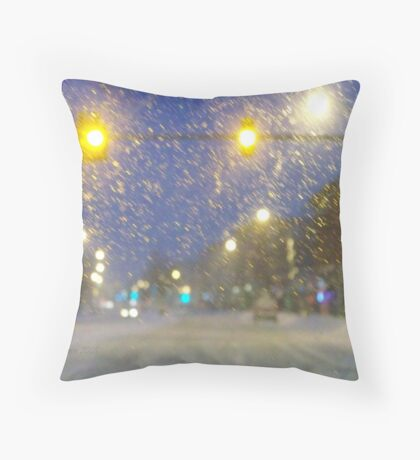 Snowstorm Scene Throw Pillow