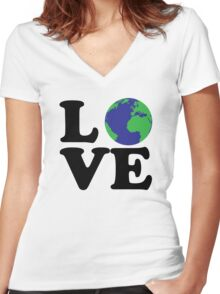I Love World Women's Fitted V-Neck T-Shirt