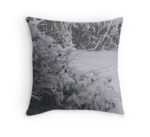 Chicken Tree Snowed in Throw Pillow