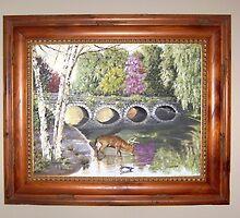 Deer at Stone Bridge by mmdstudios