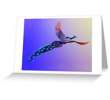 Blacklight Flying Peacock Greeting Card