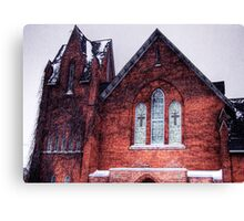 Church in Snowstorm, No. 1 Canvas Print