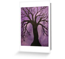 Nocturnal Silhouetted Tree Lavender Purple Sky   Greeting Card