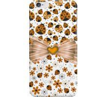 Fancy Orange Ladybugs and Flowers iPhone Case/Skin
