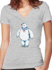 Bay Puft Marshmallow Max Women's Fitted V-Neck T-Shirt