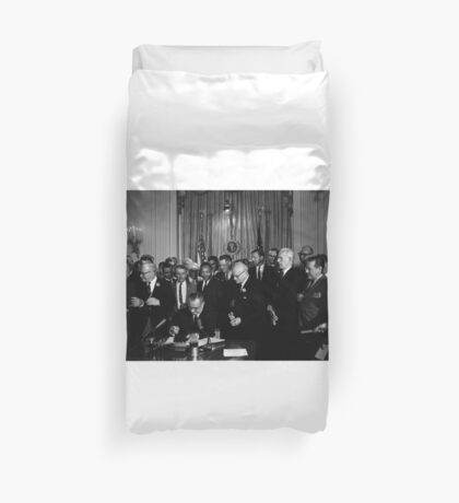 President Lyndon B. Johnson signs the 1964 Civil Rights Act as Martin Luther King, Jr., and others 1964 Duvet Cover
