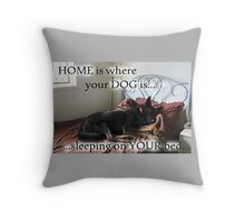 Home is where your dog is...sleeping on your bed Throw Pillow